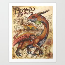 Beowulf's Dragon from the Field Guide to Dragons Art Print