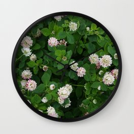 Clover flowers green and white floral field Wall Clock