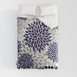 Abstract, Floral Prints, Navy Blue and Grey Comforters