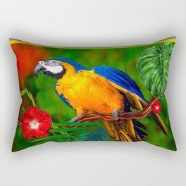 JUNGLE  FOLIAGE BLUE-GOLD MACAW PARROT Rectangular Pillow