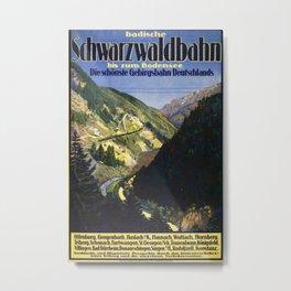 Badische Schwarzwaldbahn Vintage Travel Poster Metal Print
