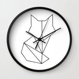 Geometric Fox - Black Wall Clock