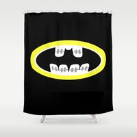 comic book Shower Curtains featuring Braces/ Comic book by Aztec Pineapple