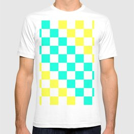 Cheerful Aqua & Yellow Checkerboard Pattern T-shirt