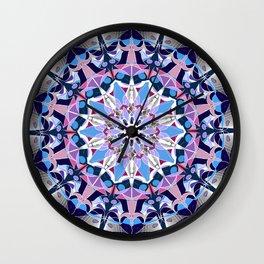 blue grey white pink purple mandala Wall Clock