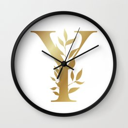 Monogram Gold Letter Y Wall Clock