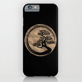 Enso Zen Circle and Bonsai Tree Gold iPhone Case