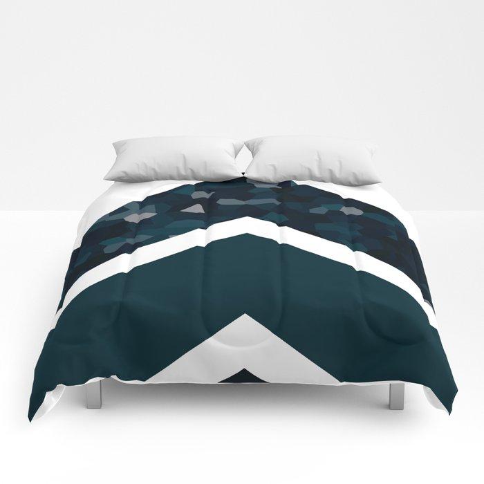 Navy Blue Polygon Chevron Comforters By