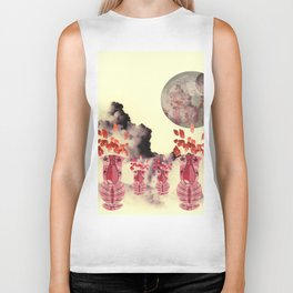 Pink Vase with Poppy Flowers Moon Biker Tank