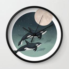 moonlight caravan // orcas Wall Clock