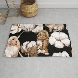 Cotton Flower & Rabbit Pattern on Black 01 Rug