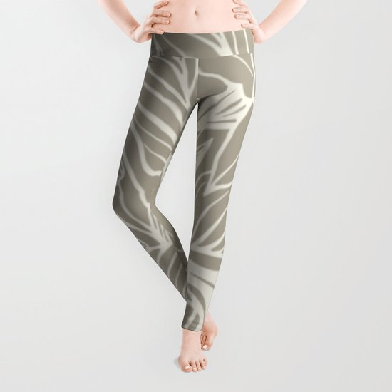 Floral Alabaster Blue Gray Leggings