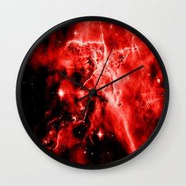 galAXY. Red Mystic Mountain Nebula Wall Clock