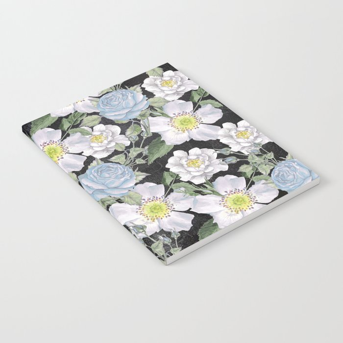 Vintage Rose Pattern Blue On Chalkboard Notebook