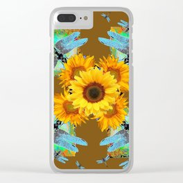 MODERN SUNFLOWERS BLUE DRAGONFLIES BROWN ABSTRACT Clear iPhone Case