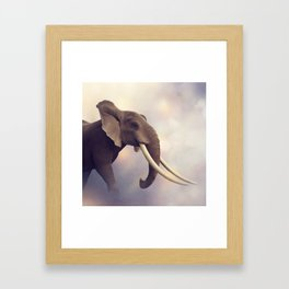African Elephant Portrait .Digital painting Framed Art Print
