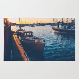 Antique Yacht at Sunset Rug