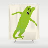 skateboard Shower Curtains featuring Surf on a skateboard by Design4u Studio