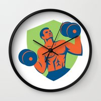 crossfit Wall Clocks featuring Strongman Crossfit Lifting Dumbbells Shield Retro by patrimonio