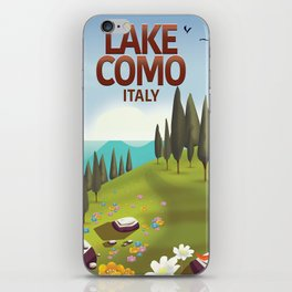 Lake Como Italy travel poster iPhone Skin