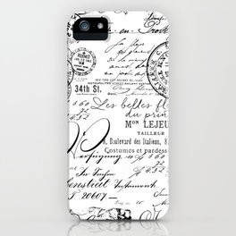 Vintage handwriting black and white iPhone Case