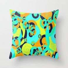 TURQUOISE ORANGE YELLOW hint of BLACK Throw Pillow