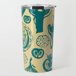 Adorned Fruit and Vegetable Box in Cream and Teal Travel Mug