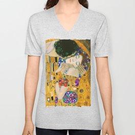 The Kiss by Gustav Klimt Unisex V-Neck