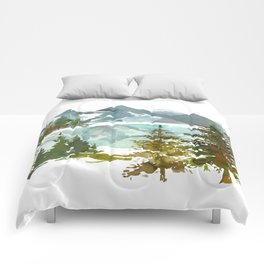 Forest green teal blue watercolor hand painted landscape Comforters