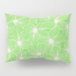 02 White Flowers on Green Pillow Sham