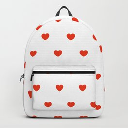 HEARTS ((cherry red on white)) Backpack
