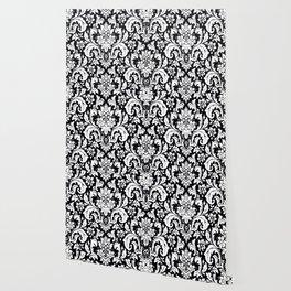 Damask Paisley Black and White Paisley Pattern Vintage Wallpaper