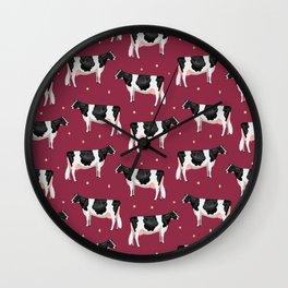Holsteins // Cranberry Wall Clock