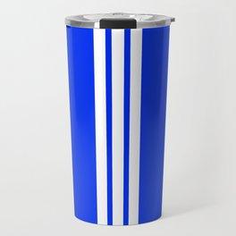 3 White Stripes on Blue Travel Mug