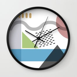 Geometric abstract art, pastel tones shapes and dots print Wall Clock