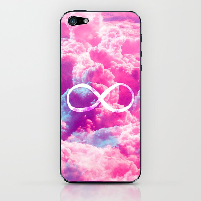 Girly Infinity Symbol Bright Pink Clouds Sky Iphone Skin By