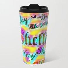 Sheffey Fonts - Yellow and Pink Rainbow 9642 Metal Travel Mug