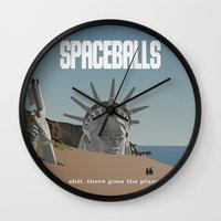 planet of the apes Wall Clocks featuring Spaceballs: Planet of the Apes by Preston Porter
