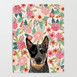 Australian Cattle Dog blue heeler floral pet portrait art print and dog gifts Poster