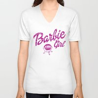 barbie V-neck T-shirts featuring Barbie girl by Deep-fried Kiwi