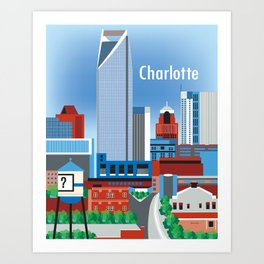 Charlotte, North Carolina - Skyline Illustration by Loose Petals Art Print