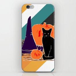 Witch Cat Pumpkin in Candy Corn iPhone Skin