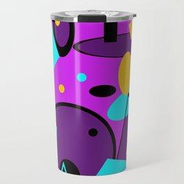 Retro abstract print purple violet Travel Mug