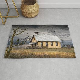 Crows and Ravens Hovering over an Old Vacant One Room Country Schoolhouse Rug