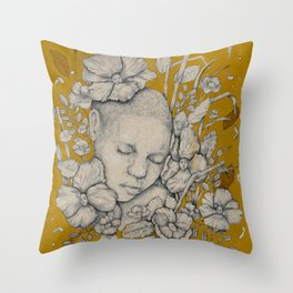 """""""Guardians"""" - Surreal Floral Portrait Illustration Throw Pillow"""