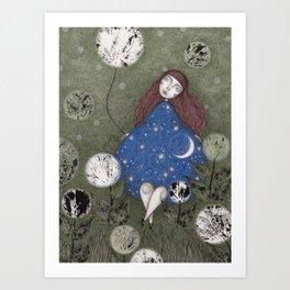 Where the Moonflowers Grow Art Print