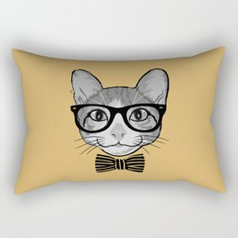 Cat Hipster with Stripes Bow Tie Rectangular Pillow
