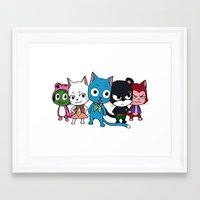 fairy tail Framed Art Prints featuring Fairy Tail Cats by ZeroOmega