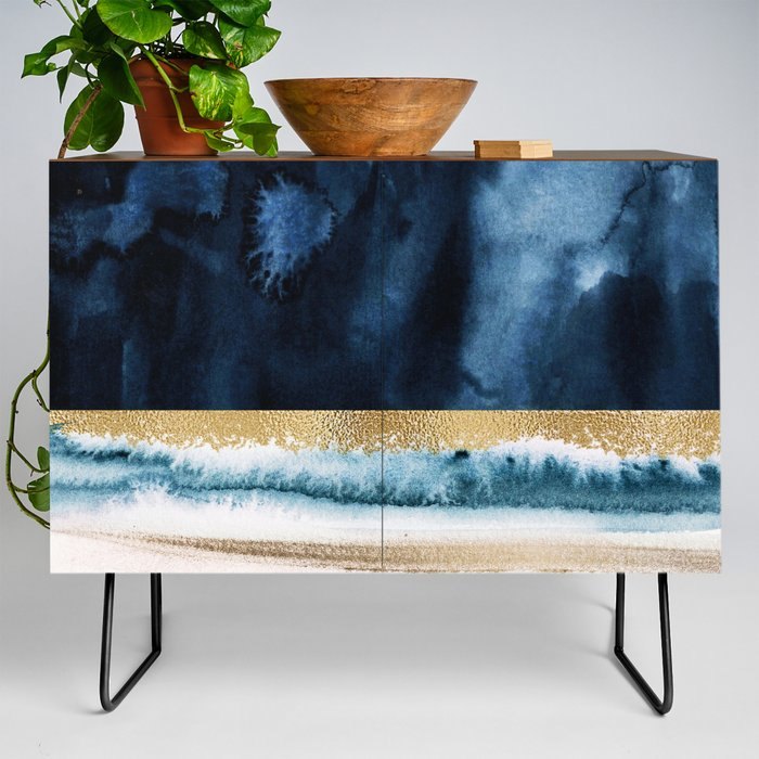 Navy_Blue_Gold_And_White_Abstract_Watercolor_Art_Credenza_by_Garden_Of_Delights_Gallery__Black__Walnut