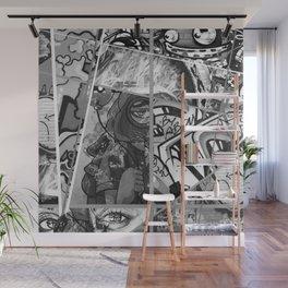 Crazy Graffiti - Black and White Abstract Comic Strip Street Pop Art Wall Mural